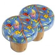 FREE Yair Emanuel Painted Wood Bottle Cork, Pair of 2 - Oriental