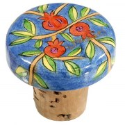 FREE Yair Emanuel Painted Wood Bottle Cork, Pair of 2 - Pomegranate