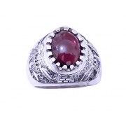 Garnet and Silver Jerusalem Ring