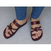 Gentle Criscross with Flower Handmade Leather Sandals  – Sarit