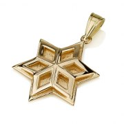 Geometric Design 14K Gold Star of David Pendant