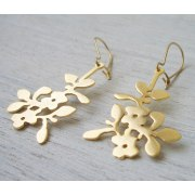 Geranium Earrings in Matte Gold - Shlomit Ofir Designs
