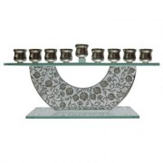 Glass Hanukkah Menorah with Metal Pomegranate Cutout