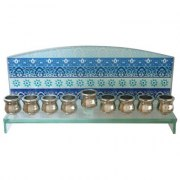 Glass Rectangle Hanukkah Menorah with Blue Painted Decorations