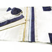 Gold and Blue Tallit Prayer Shawl by Galilee Silks