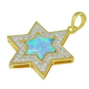 Gold and Diamond Star of David Necklace with Opal Accent Stone