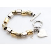 Gold and Silver with Heart Charm, Israeli Bracelet
