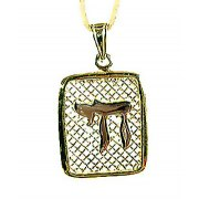 Gold Chai on Square Net Pendant from Emunah