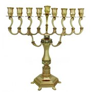 Gold plated Diamond Design Hanukkah Menorah
