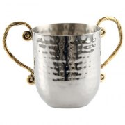 Gold Handles Stainless Steel Hammered Washing Cup