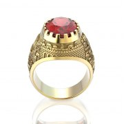 14K yellow Gold Jerusalem Ring Garnet Stone