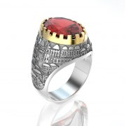 Gold Jerusalem Ring Garnet Stone