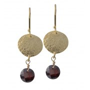 Gold Plated Coin and Garnet Earrings, Israeli Jewelry