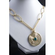 Gold Plated Disc Pendant on Double Chain Necklace - Anava Jewelry
