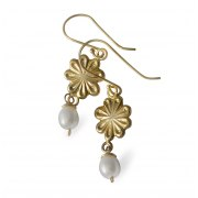 Gold Plated Flower and White Pearl Earrings, Israeli Jewelry