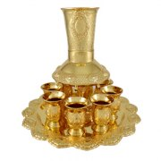 Gold Plated Ornamental Crosshatch Kiddush Fountain Divider