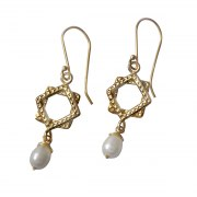 Gold Plated Squares and White Pearl Medallion Earrings, Israeli Jewelry