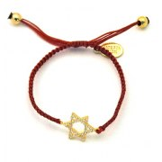 Gold Plated Star of David Bracelet with Cubic Zirconia