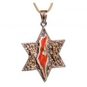 Gold & Silver Map of Israel Necklace with Shema Israel