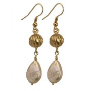 Golden Bell Earrings with Drop Pearls, Israeli Jewelry