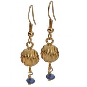 Golden Bell Hanging Earrings with Blue Beads, Jewish Jewelry