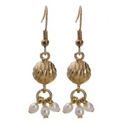 Golden Bell Hanging Earrings with Pearls, Jewish Jewelry