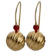 Golden Bell Hanging Earrings Red Bead, Israeli Jewelry