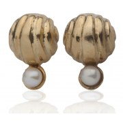 Golden Bell Stud Earrings with White Pearls, Israeli Jewelry