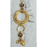 Golden Rings Necklace with Hamsa Dove and Crystal Heart