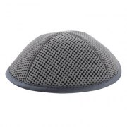Grey Mesh Kippah with Pin Spot
