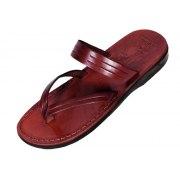 Grooved V-Strap and Band Slip-on Leather Biblical Sandals - Golan