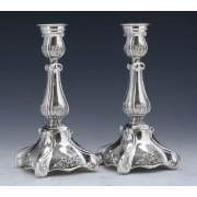 Hadad Sterling Silver Candlesticks - Flower Accents, Scroll Foot Square Base