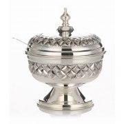 Hadad Sterling Silver Covered Honey Dish - Basket Weave Design