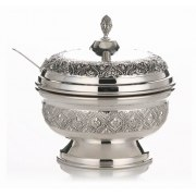 Hadad Sterling Silver Covered Honey Dish - Embossed Flower in Filigree Diamonds