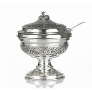 Hadad Sterling Silver Covered Honey Dish - Floral Scrolls