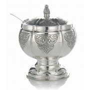 Hadad Sterling Silver Covered Honey Dish - Toscana Arabesque