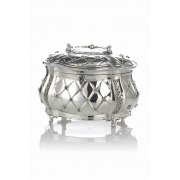 Hadad Sterling Silver Etrog Box - Rounded Flower Accented Lattice