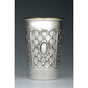 Sterling Silver Kiddush Cup - Cameo on Lattice Panels - Flat Bottom, Curved Rim