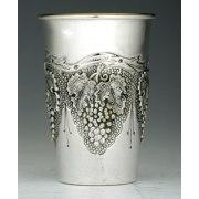 Hadad Sterling Silver Kiddush Cup - Flat Bottom - Grape Bunches Pattern
