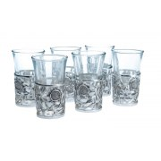 Hadad Sterling Silver Kiddush Cup Set - 6 Floral silver & glass liquors cups