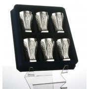 Hadad Sterling Silver Kiddush Cup Set - 6 Toscana Floral Paneled Liquor cups