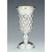 Hadad Sterling Silver Kiddush Goblet - Embossed Rope Lattice Pattern
