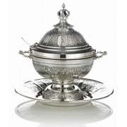 Hadad Sterling Silver Majestic Covered Honey Dish & Matching Saucer Set