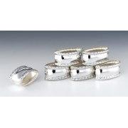 Hadad Sterling Silver Napkin Rings Set of 6 - Filigree border