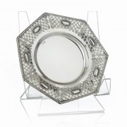 Hadad Sterling Silver Saucer - 7-Sided Lattice with Oval Cameo Panels