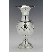 Hadad Sterling Silver Vase - Inlaid Diamonds with Flower Accents