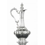 Hadad Sterling Silver Wine Decanter with Handle - Grape Bunch Design