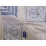 Hamefoar (Pe'er Kal) Wool with Light Blue and Silver Stripes, Tallit