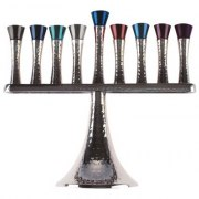 Hammered Aluminum Hanukkah Menorah with Vertical Branches