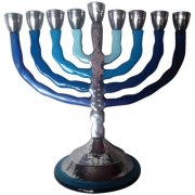 Hammered Aluminum Shades of Blue Hanukkah Menorah